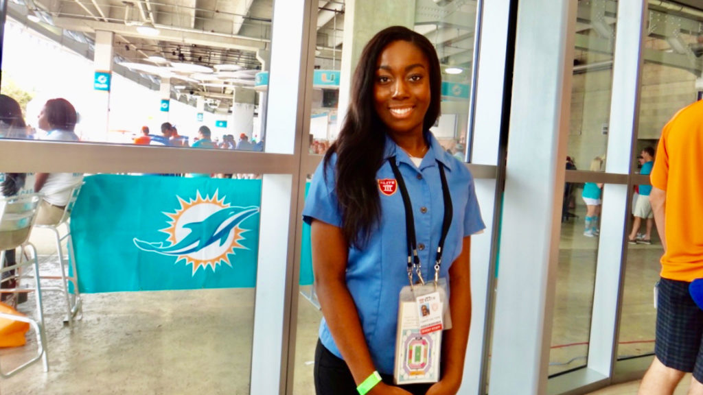 Young woman event staff at Miami Dolphins Stadium