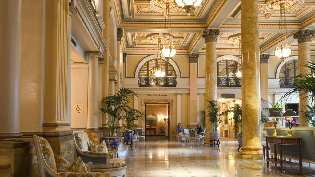 Hotel Lobby Interior with marble floors and historic architecture